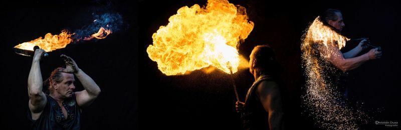 Feuershow Löwenberg zum Geburtstag Feuerspucker mit Feuerschwert